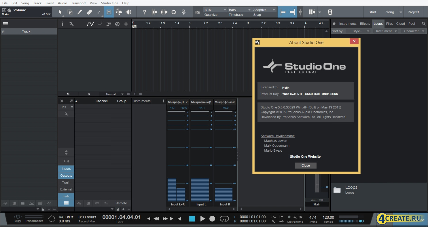 PreSonus - Studio One 3 Professional (Скриншот 1)
