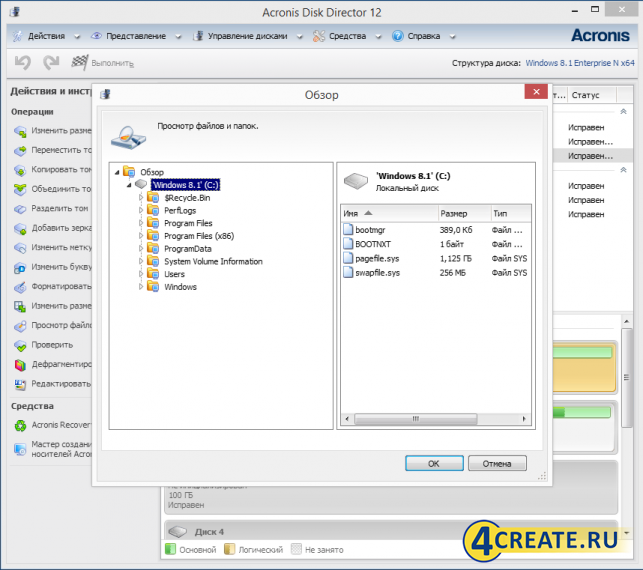 Acronis Disk Director 12 (Скриншот 1)
