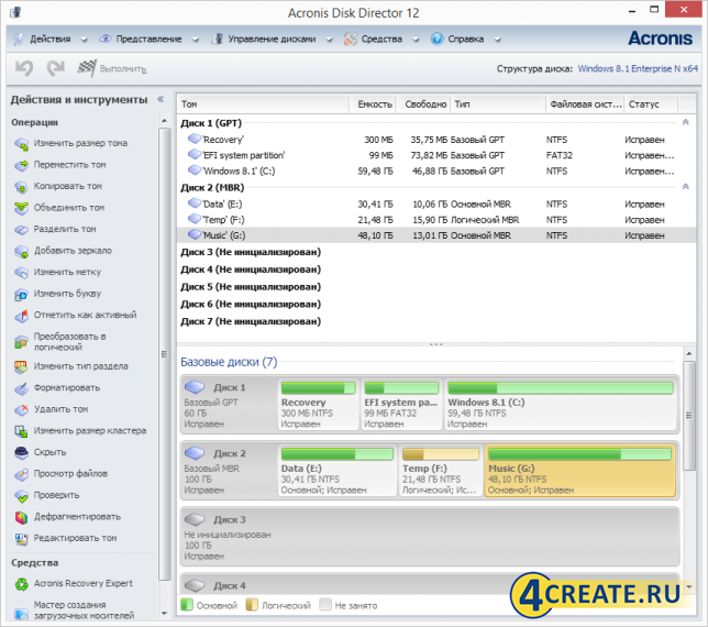 Acronis Disk Director 12 (Скриншот 4)