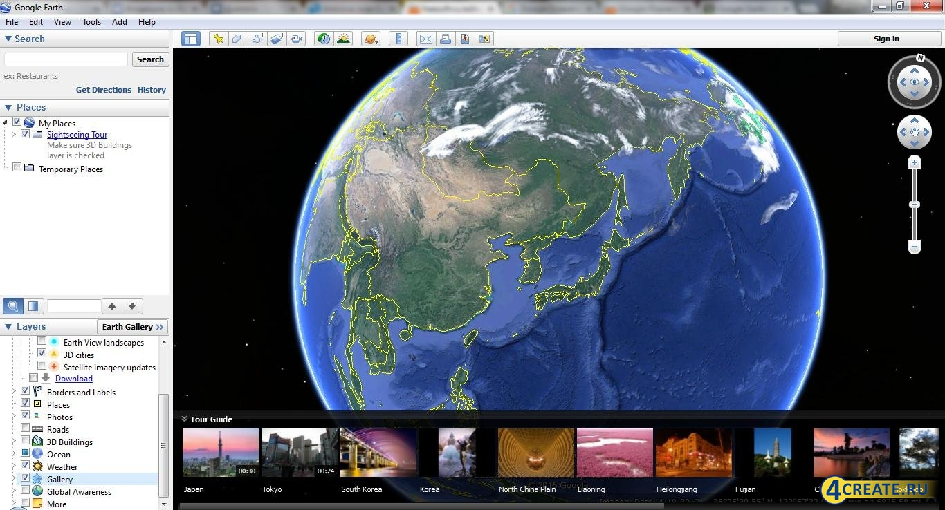 Google Earth 7.1.8.3036 (Скриншот 1)