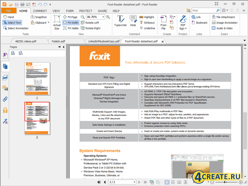 Foxit Reader 8.3.2 (Скриншот 1)