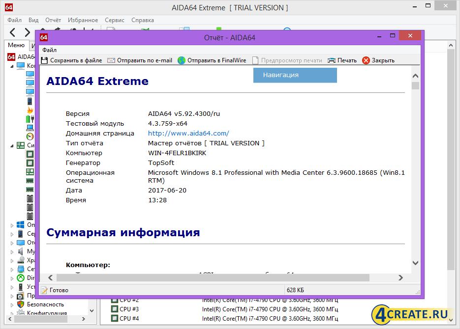 AIDA64 Extreme 5.92.4300 (Скриншот 4)